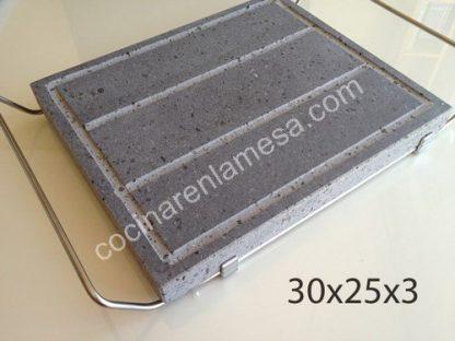 Piedra Volcanica Natural para asar carne 30x25x3cm con soporte de acero inoxidable