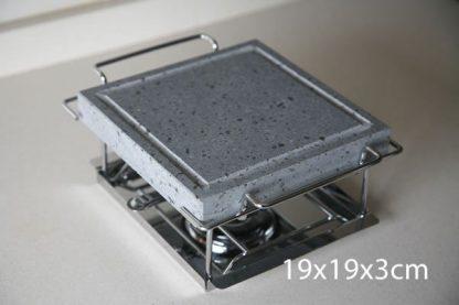 Piedra para asar Volcanica Natural de 19x19x3cm con soporte y quemadores