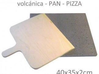 Piedra volcanica para hornear pan y pizza de 40x35x2 + pala de madera de abedul