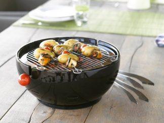 Barbacoa de mesa con exterior en ceramica negra