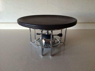Quemador de gas con soporte y plato de ceramica refractaria para carne a la piedra