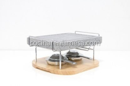 Piedra para carne 25x20x3 volcanica con base de madera, soporte y quemadores
