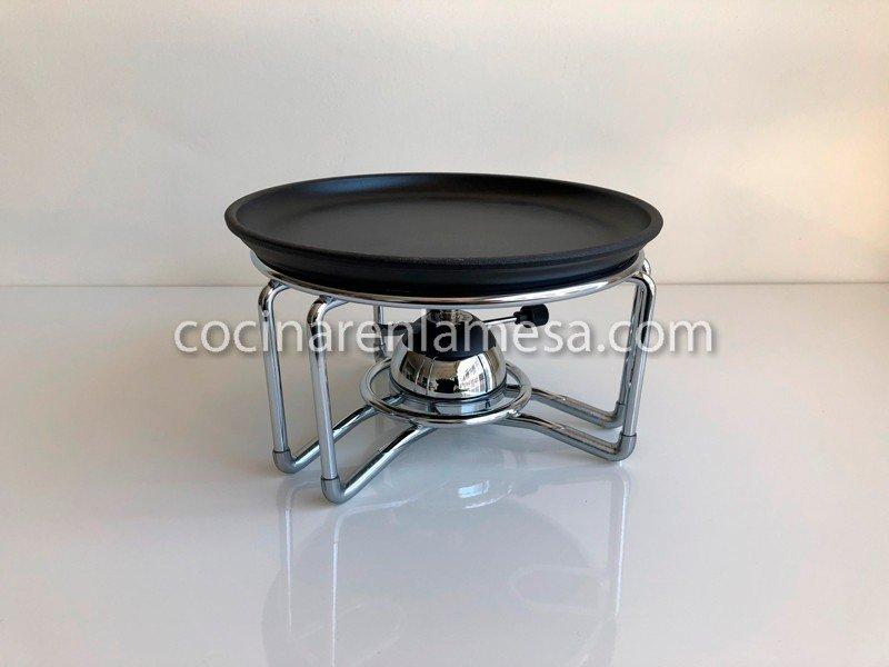Plato hierro fundido para carne soporte y quemador Cocinilla a gas 1 plato